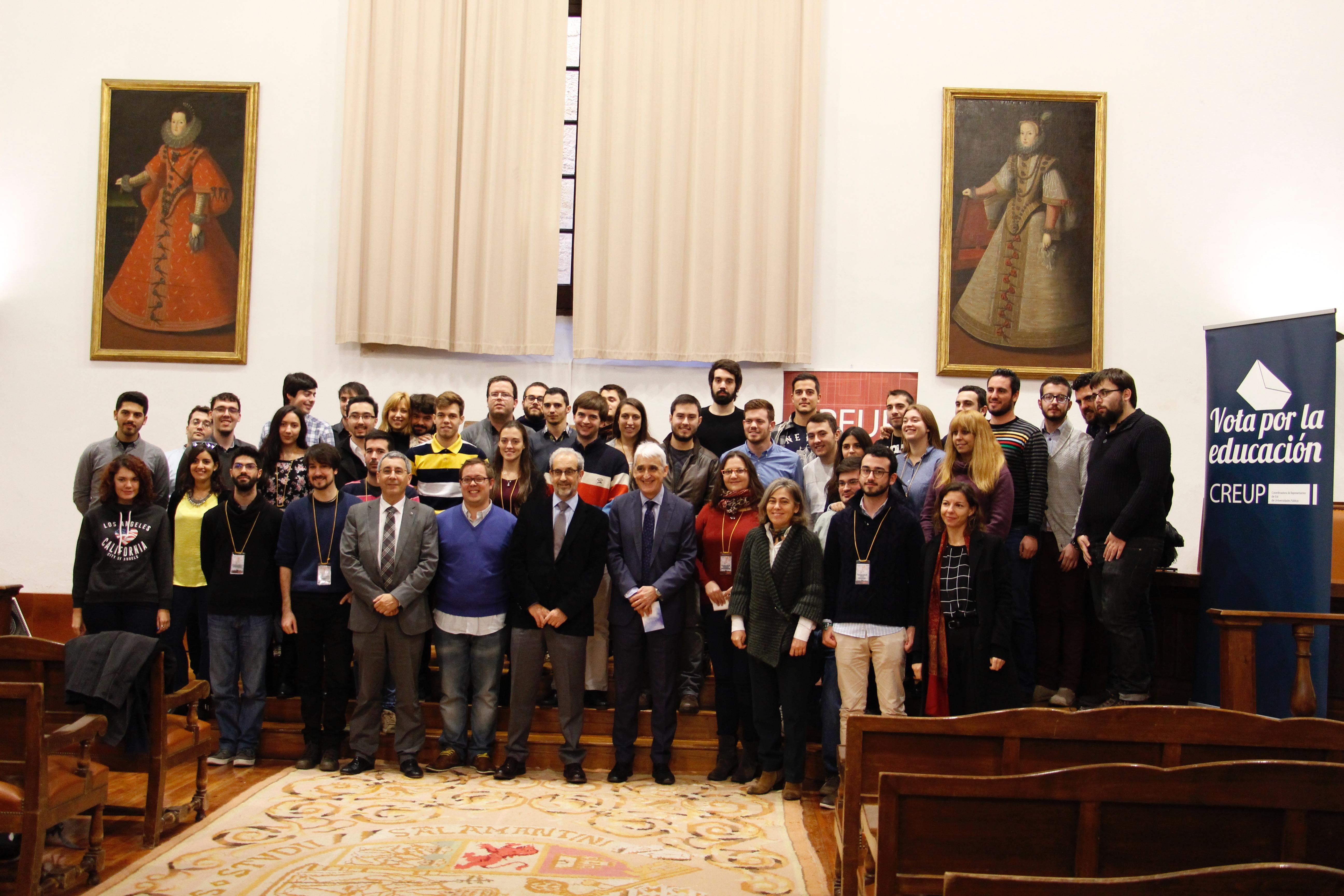 El rector, Daniel Hernández Ruipérez, asiste a la inauguración en la Usal de la asamblea general de la Coordinadora de Representantes de Estudiantes de Universidades Públicas (CREUP)