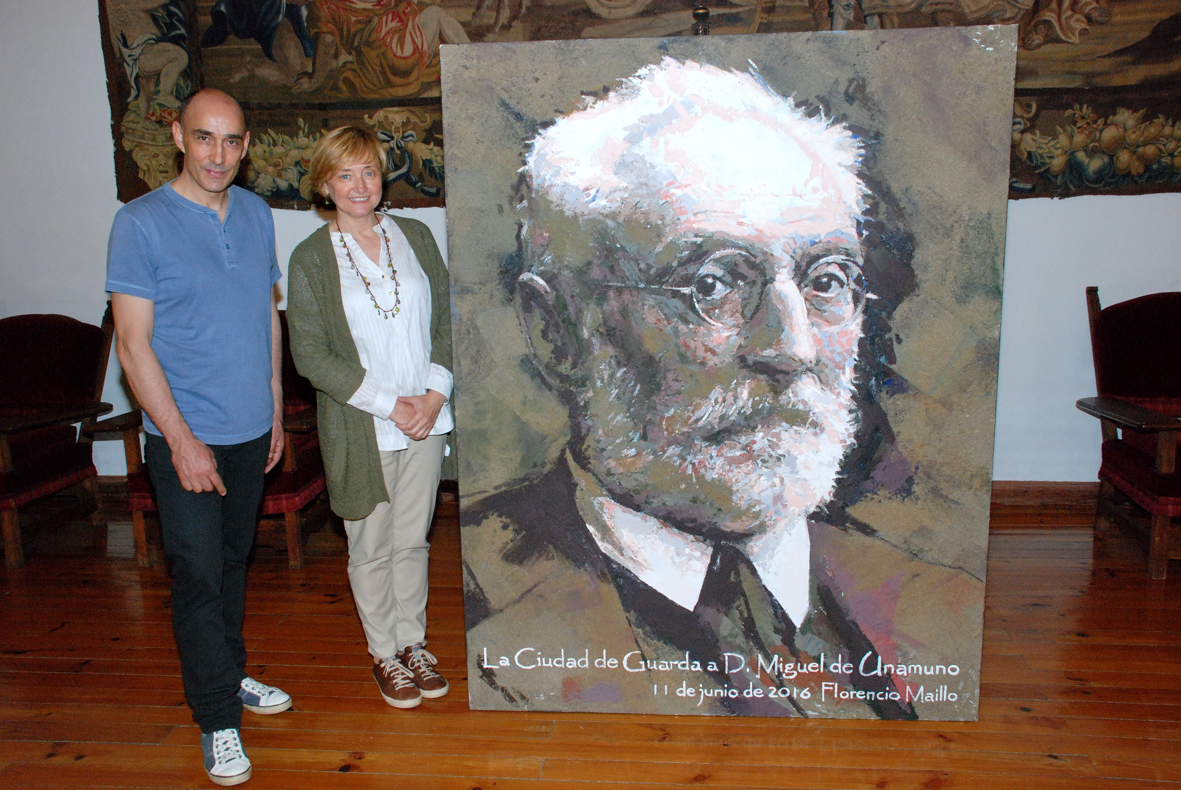 La Casa Museo Unamuno expone el retrato del célebre rector realizado por el profesor Florencio Maíllo
