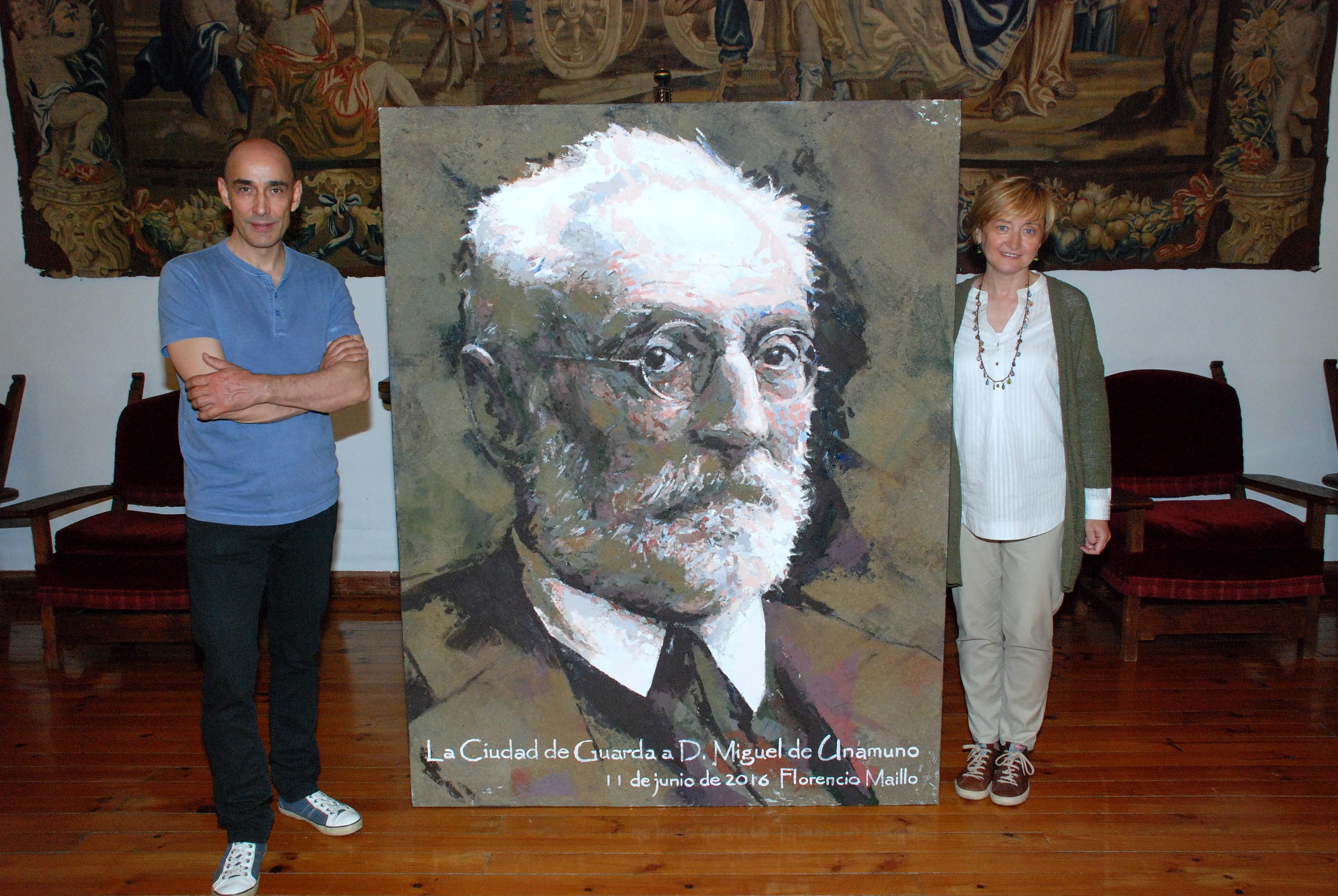 La Casa Unamuno expone el retrato del célebre rector salmantino realizado por el profesor Florencio Maíllo