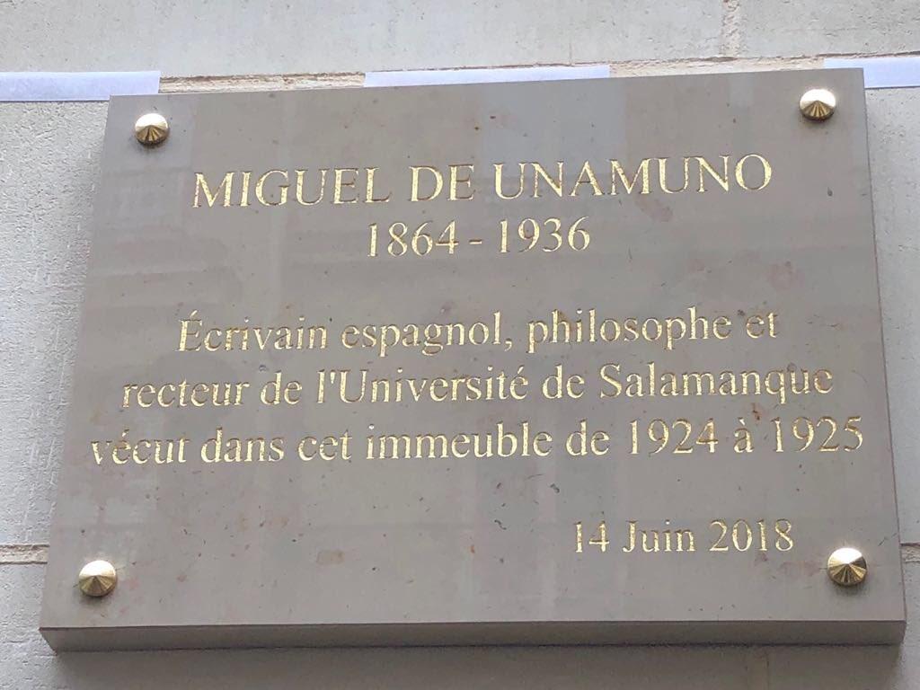 París recuerda con una placa la presencia de Miguel de Unamuno en la capital del Sena
