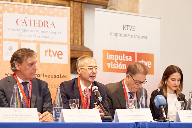 El rector y el director general Corporativo de RTVE refuerzan la colaboración en la apertura de la I Jornada de Innovación Tecnológica y Emprendimiento en el Sector Media
