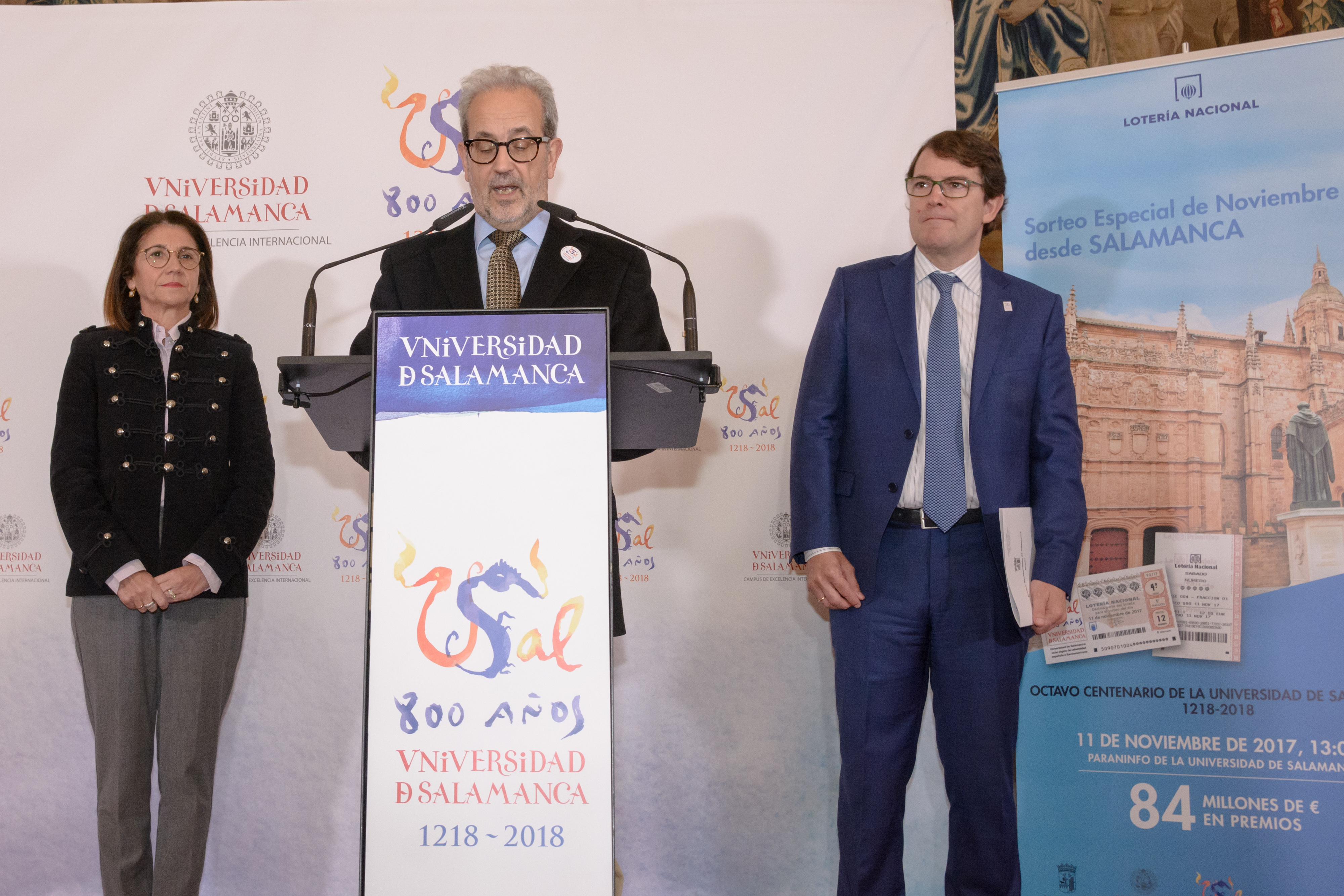 La Universidad de Salamanca acoge el sorteo de la Lotería Nacional con motivo del Octavo Centenario