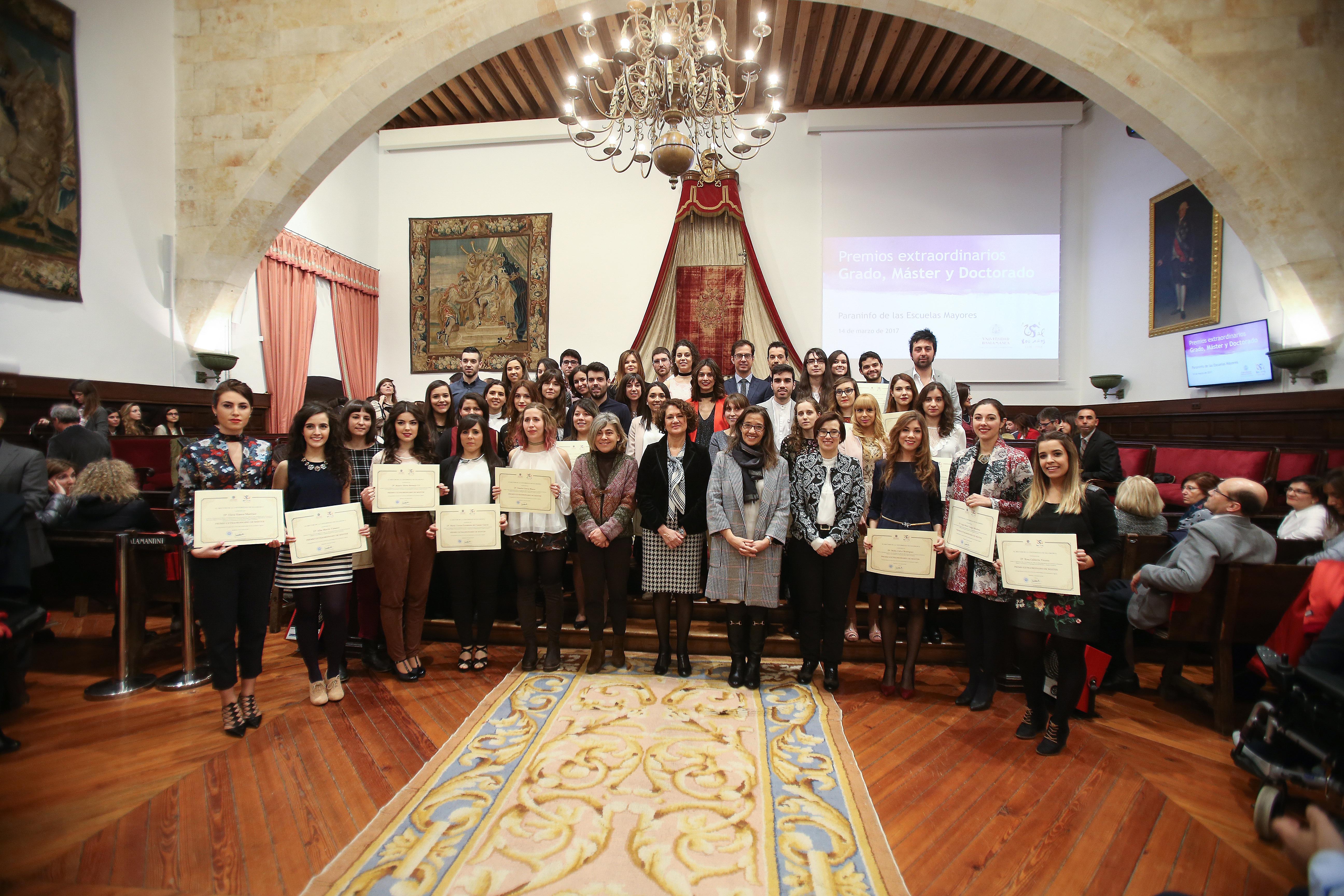 Más de 200 estudiantes reciben los Premios Extraordinarios de Grado, Máster y Doctorado de la Universidad de Salamanca