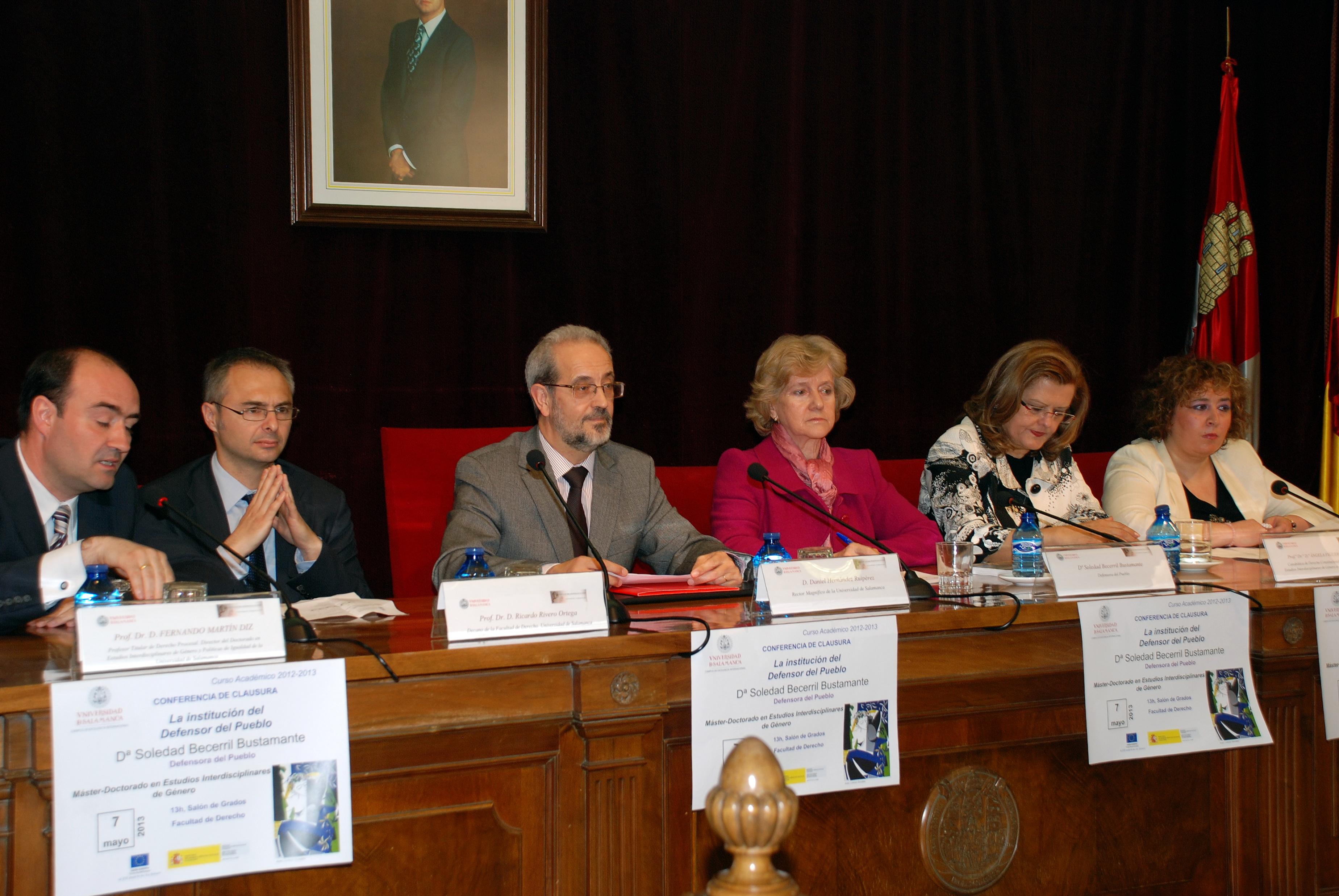 La defensora del Pueblo, Soledad Becerril, imparte la conferencia de clausura del Máster y Doctorado en Estudios Interdisciplinares de Género de la Universidad de Salamanca