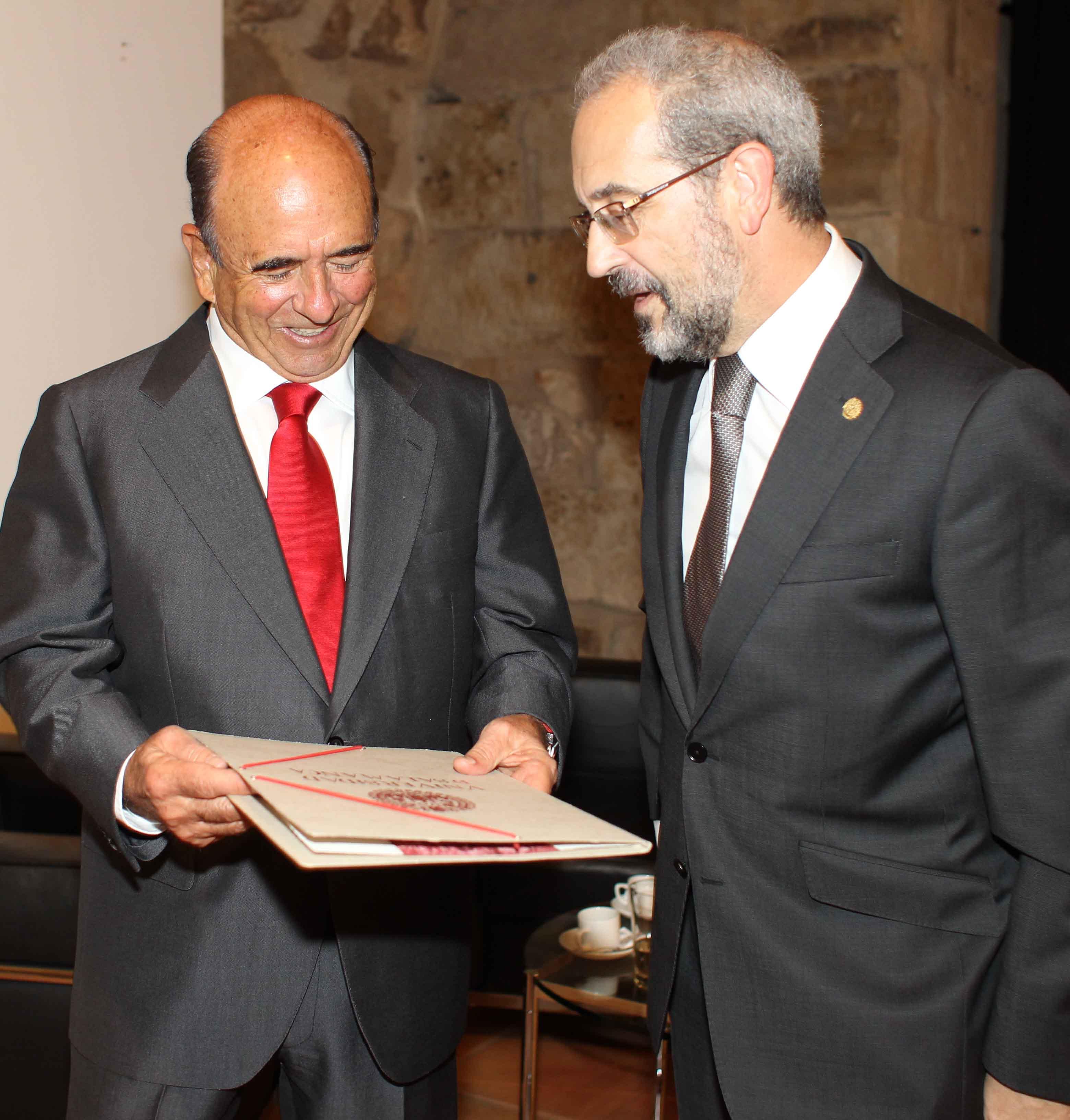 El rector con el presidente del Banco Santander