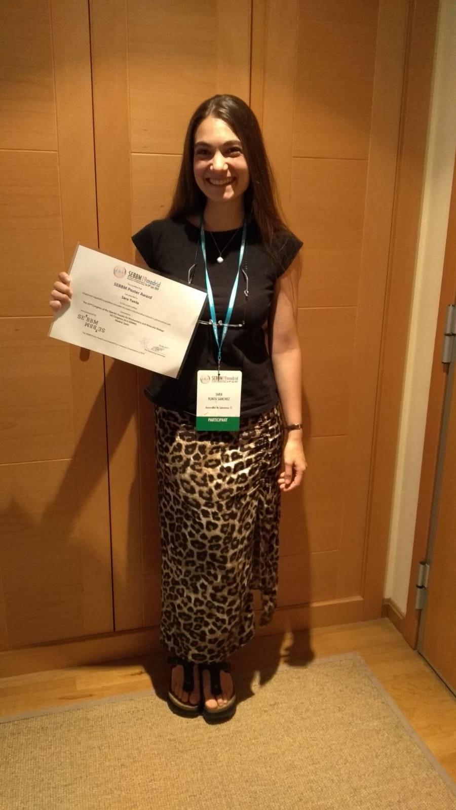 Sara Yunta, joven investigadora de la Universidad de Salamanca, galardonada en el 42 Congreso de la Sociedad Española de Bioquímica y Biología Molecular