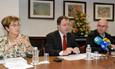 Ángela Calvo, Manuel Carlos Palomeque López y Luis Antonio Miguel Quintales, en la rueda de prensa de presentación