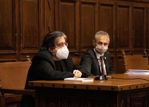Luis G. Jambrina y Ricardo Rivero en la presentación del libro 'La doble muerte de Unamuno'